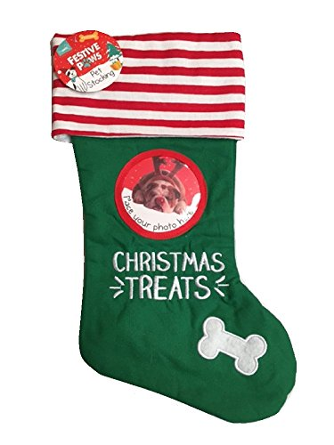 Christmas World Festive Paws Pet Xmas Stocking With Photo Frame