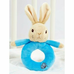 Peter Rabbit My First Ring Rattle Beatric Potter Flopsy Bunny Baby Toy - Blue