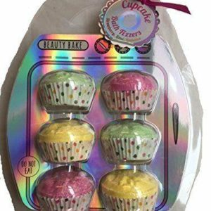 Beauty Bake Scented Cupcake Bath Bomb Fizzers Set of 6 - Pink, Green, Yellow