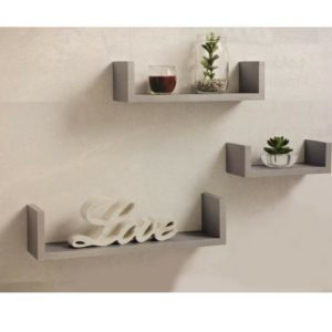 Set of 3 Silver Clean Contemporary Floating U Shape Shelves Storage - Silver