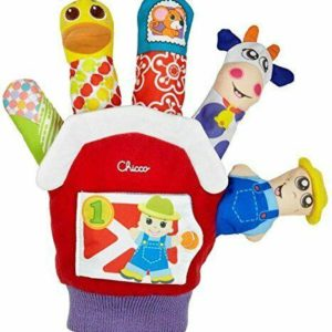 Chicco Farmyard Finger Hand Puppet Farm Animal Crinkle Squeaker Rattle Toy 3-24M