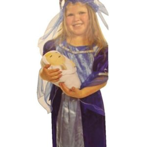 Childrens Girls Christmas Nativity Mary Fancy Dress Outfit Costume - 3-5 Years
