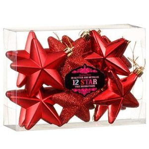 Christmas Tree Decoration 3D Glitter & Metallic Star Baubles Pack of 12
