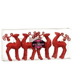 Glitter Reindeer Christmas Xmas Tree Decorations Pack of 4 - Red