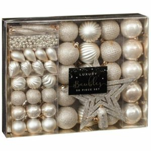 Christmas Luxury 50 Piece Xmas Tree Bauble Decoration Set - Gold