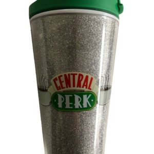 Friends Central Perk Travel Mug Silver Glitter Coffee Cup with Lid