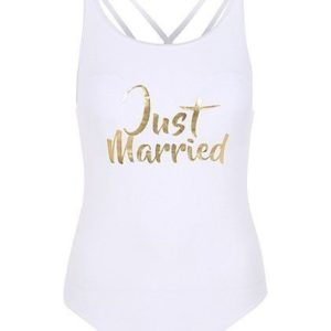 George Womens Just Married White & Gold Slogan Swimsuit Swimming Costume