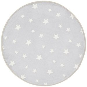 Glow in the Dark Rug Grey Stars Kids Bedroom Round Mat 70 x 70cm
