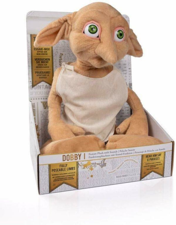 Harry Potter Talking Dobby Elf Soft Plush Poseable Toy Doll with Sounds