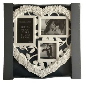 White Button Style Heart Shape 3 In 1 Photo Picture Frame Photograph Frames