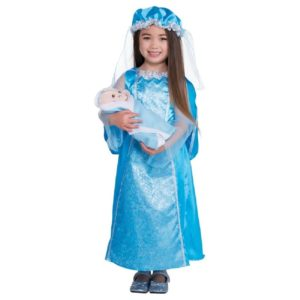 Childrens Girls Christmas Nativity Mary Fancy Dress Outfit Costume & Plush Baby