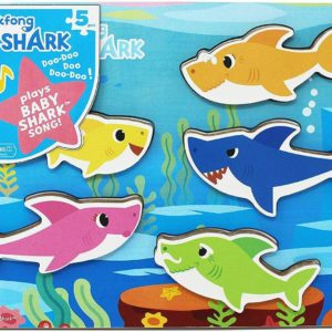 Baby Shark Chunky Wooden Puzzle With Sound Wood Game Playset Pinkfong