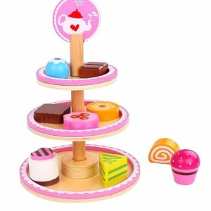 Tooky Toys Childrens Dessert Stand Wooden Playset & Accessories Toy Set