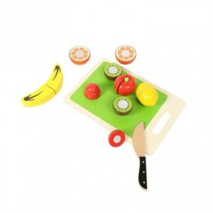 Tooky Toys Childrens Cutting Fruits Wooden Fruit Toy Playset Age 3+
