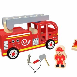 Tooky Toys Childrens Fire Truck Wooden Toy Playset Age 3+