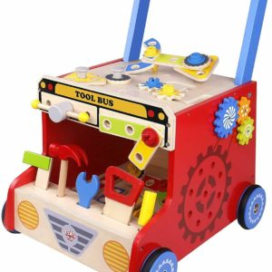 Tooky Wooden Toys Tool Bus 48 Piece Deluxe Push Along Toy Playset & Accessories