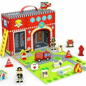 Tooky Toys Fire Station Box 18 Piece Set Wooden Toy Playset & Accessories