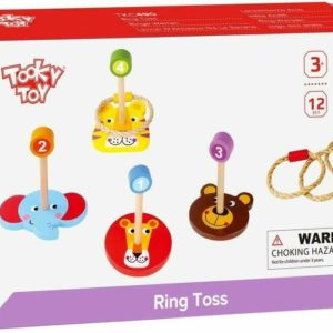 Tooky Toys Ring Toss 12 Piece Animal Faces Wooden Toy Playset