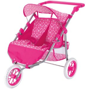 Toyrific Childrens Kids Pink Twin Pram For Baby Dolls Buggy Toy 3+