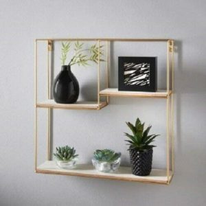 Gold Metal Wire Floating Wall Shelf Multi Section Tromso Home Decor 40 x 40cm