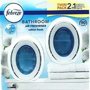 Febreze Cotton Fresh 2 In 1 Bathroom Air Freshener 7.5ml Odour Clear Twin Pack