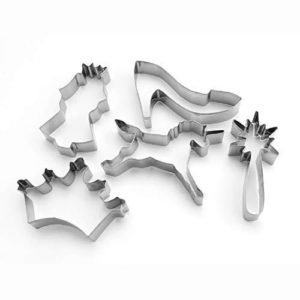 Princess Unicorn Style Cookie Cutter 5 Piece Set - Stainless Steel Unicorns Princess Crown Wand - Metal Baking Biscuit Bread Sandwich Fondant Biscuits Jelly Shape Cutters Mould Kit Moulds - Five Pieces Pack