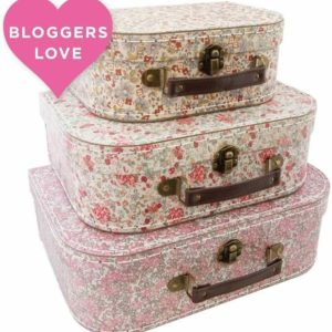 Sass & Belle Set of 3 Floral Suitcases Suitcase Storage Boxes Vintage Style
