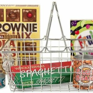 Melissa & Doug Grocery Basket Sturdy Steel Shopping Cart Playset & Play Food