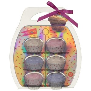 6 Pack Scented Cupcake Shape Bath Fizzers Fizzer Bomb Set - Cherry Bakewell