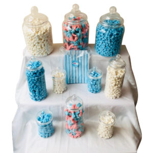 Candy Buffet Party Clear Plastic Sweet Jar Bundle - 10 Jars & 50 Blue Sweet Bags