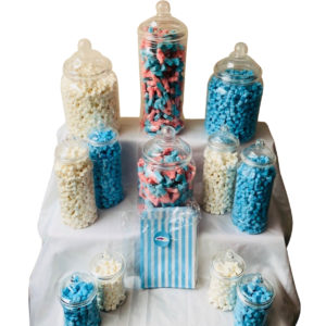 Candy Buffet Party Clear Plastic Sweet Jar Bundle - 12 Jars & 50 Blue Sweet Bags