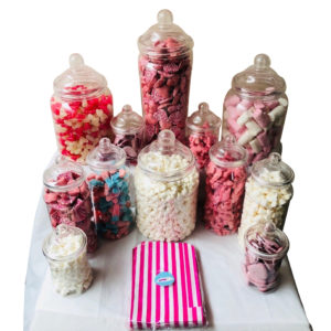 Candy Buffet Party Clear Plastic Sweet Jar Bundle - 12 Jars & 50 Pink Sweet Bags