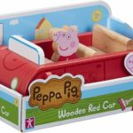 Peppa Pig Peppa's Wooden Family Red Car & Peppa Figure Wood Toy Playset