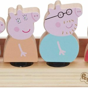 Peppa Pig Peppa's Wooden Family Figures Set of 4 & Wood Base Toy Figure