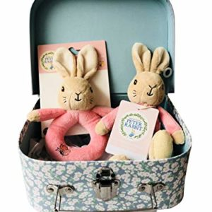Peter Rabbit Flopsy Bunny My First Bean Bag Soft Rattle & Ring Newborn Baby Gift Hamper Carry Case Set - Pink - 20 x 15 x 8cm
