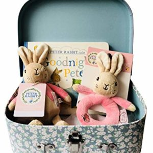 Peter Rabbit Flopsy Bunny My First Bean Bag Soft Rattle, Ring & Bedtime Story Book Newborn Baby Gift Hamper Carry Case Set - Pink - 25 x 19 x 8cm
