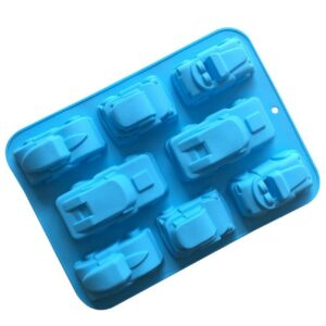 3D Car Cars Silicone Baking Shaping Mould Cake Jelly 8 Cavity Blue 32x24x4cm