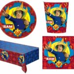 Fireman Sam Kids Party Tableware Bundle For 16 - Cups Napkins Tablecover Plates