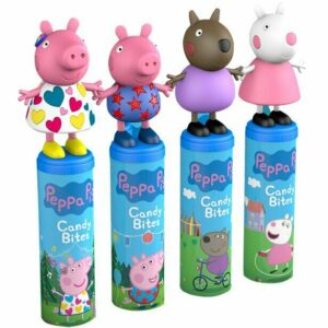 Peppa Pig Candy Bites Set of 12 Strawberry Candies Pops & Collectable Figure