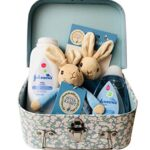 Peter Rabbit My First Bean Bag Soft Rattle, Ring, Baby Powder & Baby Lotion Newborn Baby Gift Hamper Carry Case Suitcase Set - Blue - 20 x 15 x 8cm