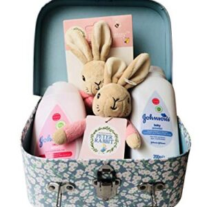 Peter Rabbit Flopsy Bunny My First Bean Bag Soft Rattle, Ring, Baby Powder & Baby Lotion Newborn Baby Gift Hamper Carry Case Suitcase Set - Pink - 20 x 15 x 8cm