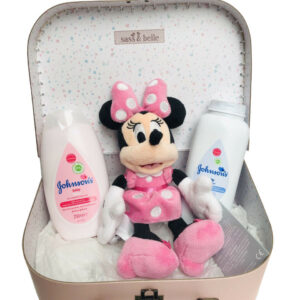 Disney Minnie Mouse Soft Bean Bag Baby Toiletries Hamper Suitcase Case Gift Set